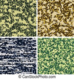 Military camouflage, army uniform fabric vector seamless patterns