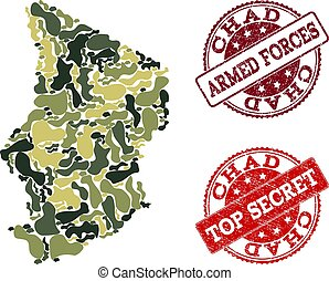 Military Camouflage Collage of Map of Chad and Distress Secret Stamps