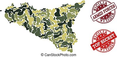 Military Camouflage Collage of Map of Sicilia Island and...