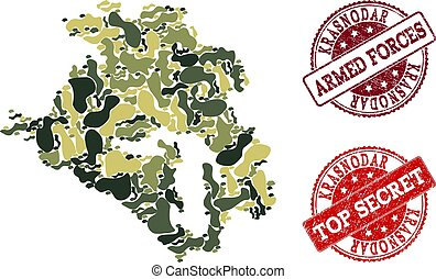 Military Camouflage Composition of Map of Krasnodar Krai and...