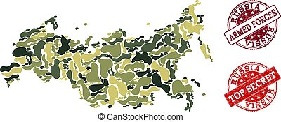 Military Camouflage Composition of Map of Russia and Distress Secret Stamps