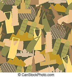 Military camouflage Landmark buildings. Attractions of army clothing texture. Protective seamless pattern.