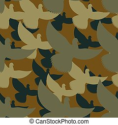 Military camouflage Pigeons. Birds Protective seamless pattern. Army soldier texture for clothes. Ornament for hunter. Dove khaki ornament