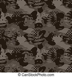 Military camouflage seamless army brown hunting pattern.