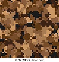 Military camouflage seamless pattern. Urban digital pixel style.