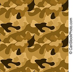 Military Camouflage Seamless Pattern yellow brown colors -...
