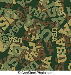 Military camouflage USA. American Protective seamless pattern. Army soldier texture for clothes. Ornament for hunter. Patriot khaki ornament
