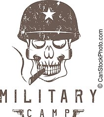 military camp grunge emblem with smoking skull and guns