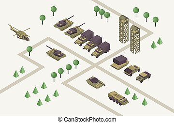 Military camp isometric vector illustration. Combat training ground with watchtowers, heavy machinery, armored helicopter, rocket missile launchers and tanks. Modern warfare area, armed conflict
