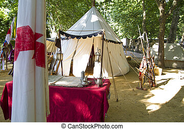 Military camp, tents and household goods during the re-enactment
