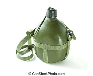 military canteen - An olive drab green army style canteen