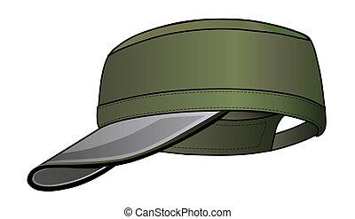 Military cap - Green military cap vector illustration ...