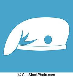 Military cap icon white