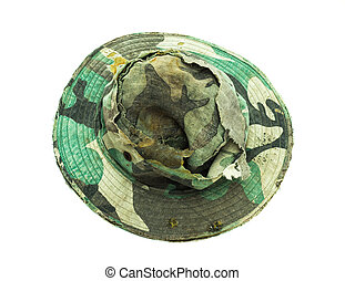military caps old on white background