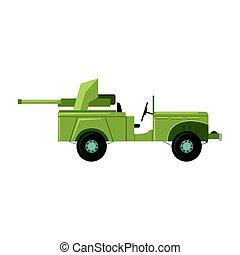 Military car with an artillery cannon. Military combat vehicle vector Illustration