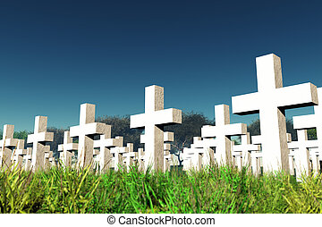Military Cemetery under Cloudy Sky 3D render