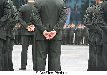 Uniformed soldiers at a military ceremony