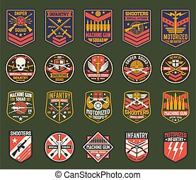 Military chevrons vector icons, army stripes set