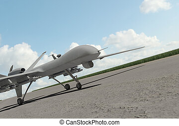 Military combat drone on ground with clouds