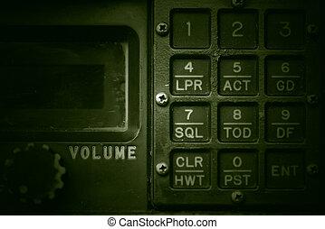 Military communication control panel, grunge style.