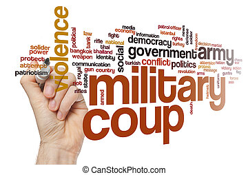 Military coup word cloud concept