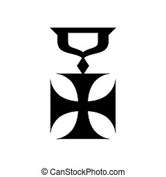 Military cross icon, simple style