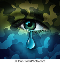 Military depression mental health concept and casualty of war symbol as a crying human eye tear with green camouflage transforming into a blue mood as a metaphor for veteran healthcare or combatant issues.