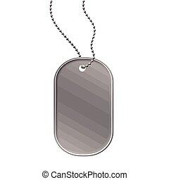 Military dog tag on white background, vector illustration