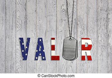 Military dog tags and flag valor