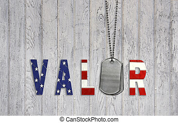 Military dog tags and flag valor