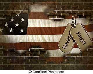 military dog tags - Military dog tags on American flag...