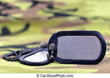 Military dog tags.