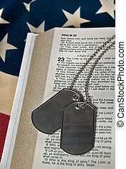 Military dog tags on Psalm 23.
