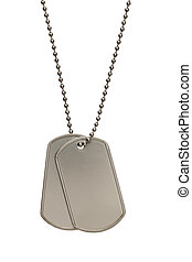 Military Dog Tags - Pair of Blank Metal Tags Hanging on...