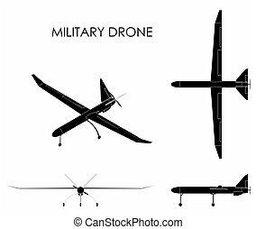 Military drone. Black fill