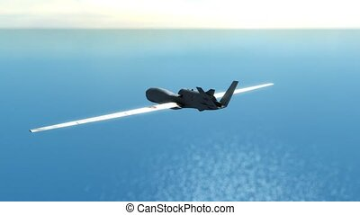 Military drone  flying over ocean and seeking enemy targets.