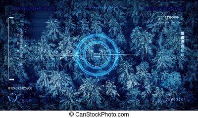 Military Drone POV Snowy Forest