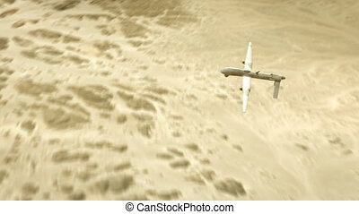 Military drone flying over desert and actively seeking enemy targets.