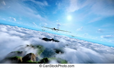 Military drones formation launching missiles, cruising above...