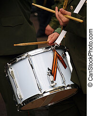 Military drum. Parade in honour of World War Two
