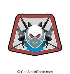 Military emblem. Paintball logo. Army sign. Skull in protective mask and weapons. Awesome badge for sports teams and clubs