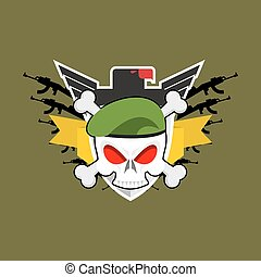 Military emblem Skull in beret.  Wings and weapons. Army logo. Soldiers badge. Eagle and guns. Awesome sign for troops. blazon commando
