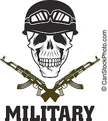 military emblem with skull and automatic guns