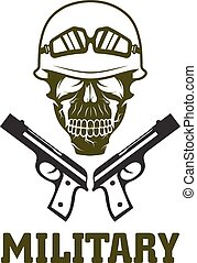 military emblem with skull and guns