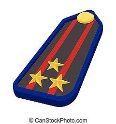 Military epaulets cartoon icon
