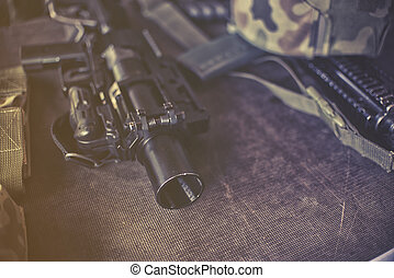 military equipment , close up on rifle