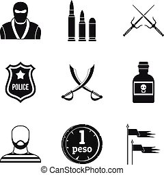 Military equipment icons set, simple style
