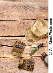 Military equipment items. Top view, flat lay.
