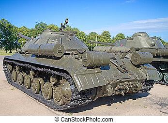 Military equipment - Soviet tank on the demonstration