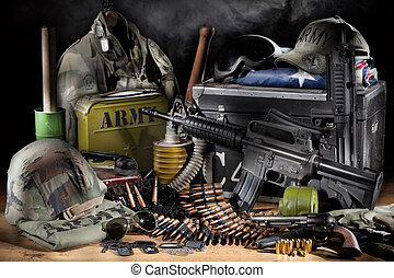 Military Equipment - Still life with different army...